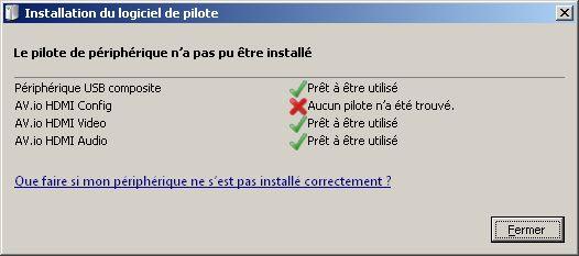No proper driver installation for AV io HD on Windows 7