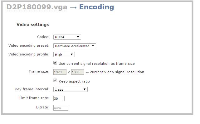 Configure encoding