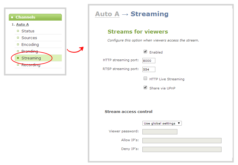 Configure HTTP and RTSP streaming ports