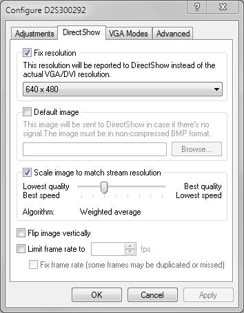 DirectShow video adjustments