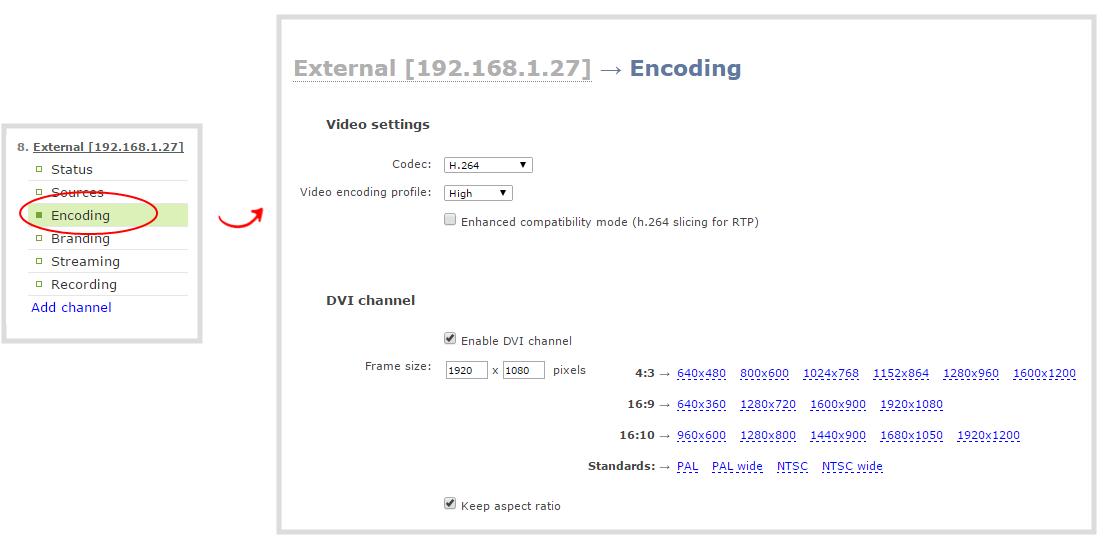 Configure encoding (HD Encoder channels)