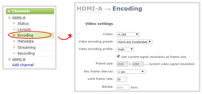 Configure video encoding