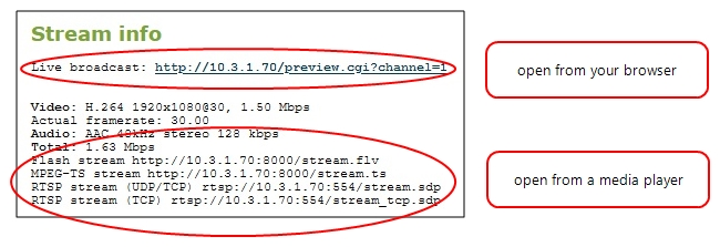 Stream content using HTTP, HTTPS or RTSP