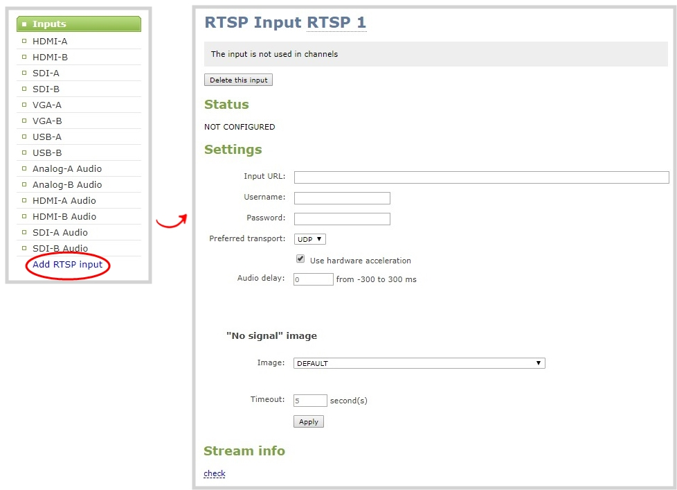 Connect an RTSP source