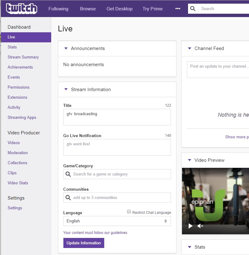 Set the stream title in Twitch