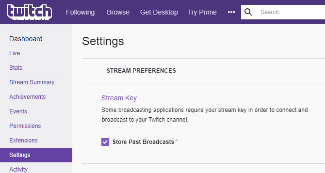 Stream to your Twitch channel page