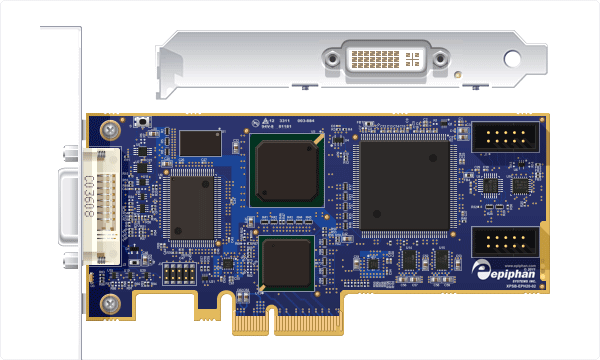 Internal capture card, DVI2PCIe Board view and end view