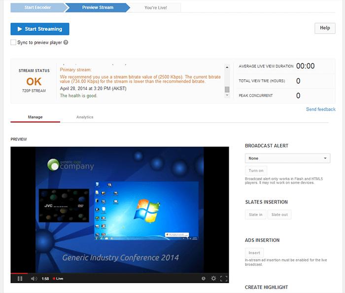 YouTube livestream setup
