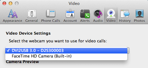 Setting up your Camera as Webcam from Preferences