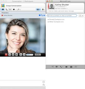 Selecting the Camera icon on Microsoft Lync main window