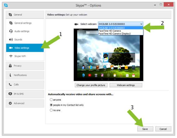 Selecting Tools on Skype