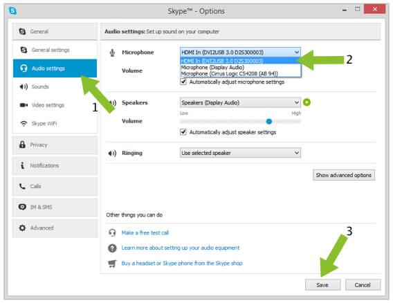 Adjusting Microphone Options on Skype