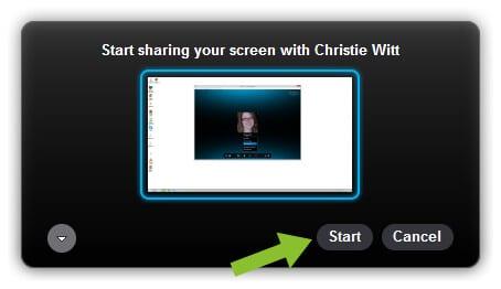 Starting to Share Screens on Skype