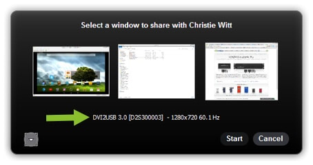 Selecting the right Window to share on Skype
