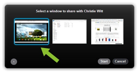 Selecting the Epiphan tool to share on Skype