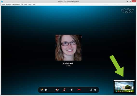 Preview of Android Tablet screen on Skype