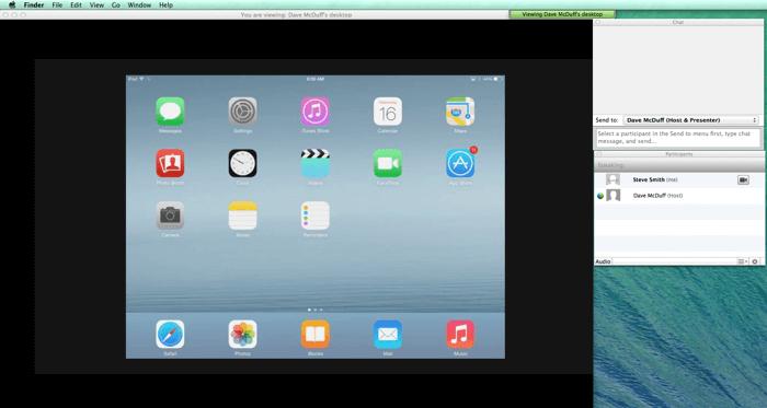 Webex sharing on iPad