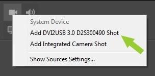 Menu option showing DVI2USB 3.0 video option