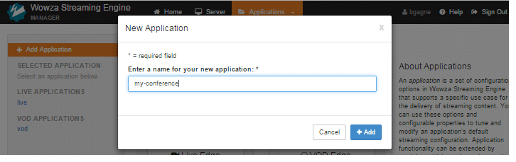 Providing the name of the Application