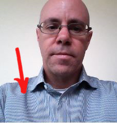 Image of a striped shirt displaying a moire interference pattern.