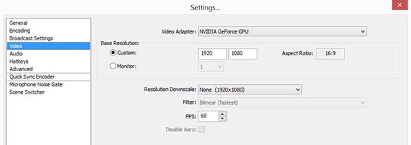 OBS Video Settings