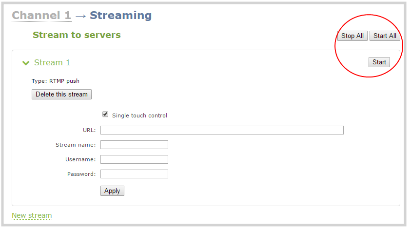 web stream to a server start and stop