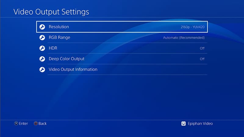 Setting your PS4 Pro video output settings