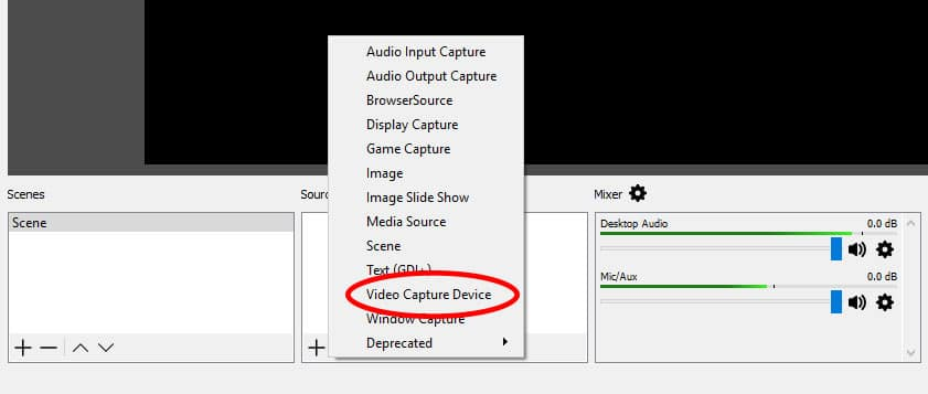 OBS Settings - Add Video Capture Device