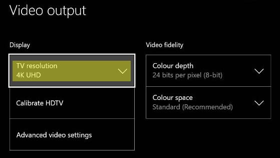 Xbox One S TV Resolution Setting