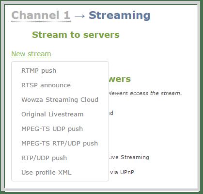 web stream to servers new stream options