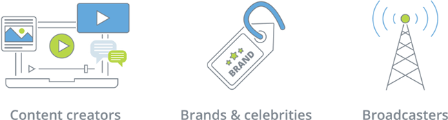 Business streaming categories: Content creators, Brands and celebrities and Broadcasters